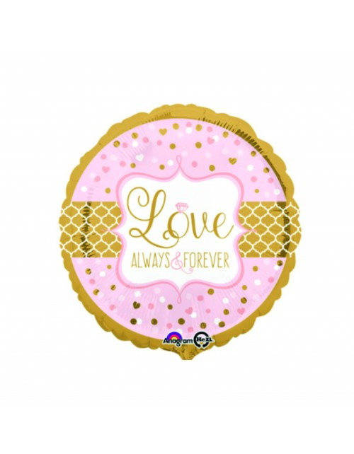"""Rožinis apvalus """"Love always and forever"""" (43 cm)"""